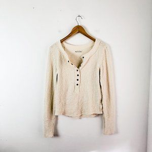 Free People thick ribbed Henley shirt size M